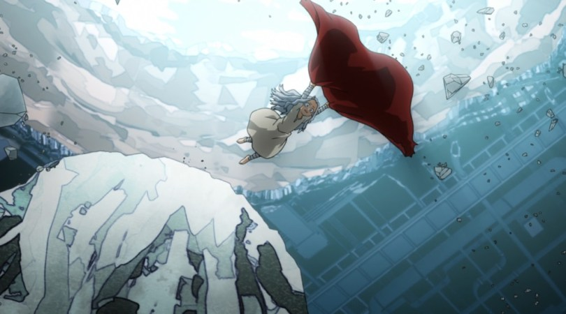 Eri leaps off a rock with a cape in her hands.
