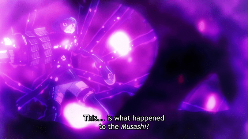"Sion in purple lighting, with her limbs and torso bound by tentacles. Subtitle text: ""This... is what happened to the Musashi?"""