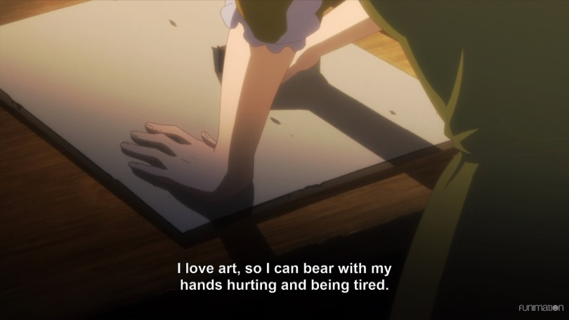 "Arte leans over a wood panel. Subtitle text: ""I love art, so I can bear with my hands hurting and being tired."""