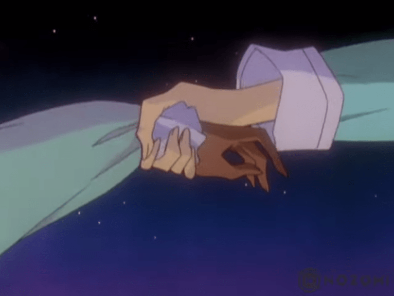 Utena's arm clutching Anthy's wrist against a starry night background