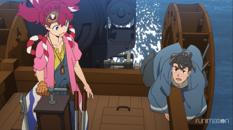 Appare on a boat, Kosame clinging to the side
