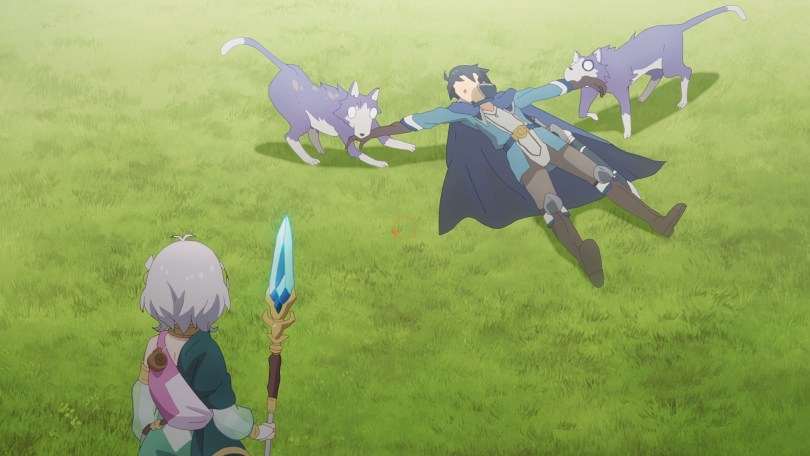 two wolves drag Yuuki by the arms in a grassy meadow while Kokkoro looks on