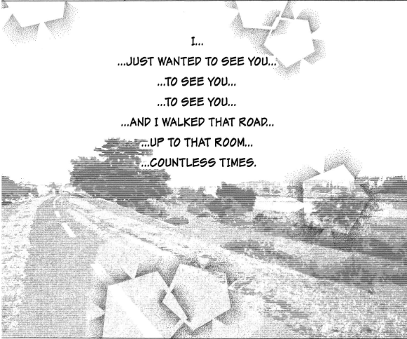 An image of a countryside road. Text: I... just wanted to see you... to see you... to see you... and I walked that road... up to that room... countless times.