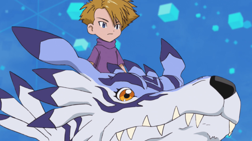 A boy riding a giant wolf monster