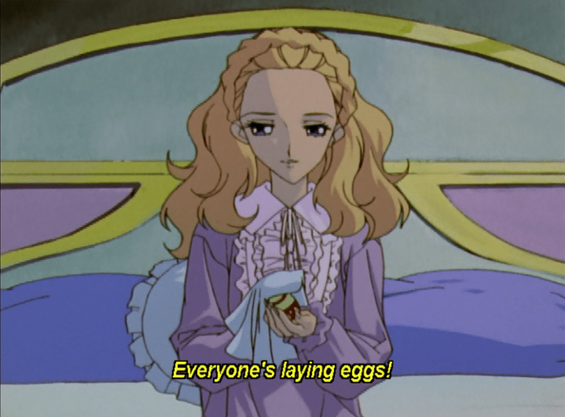 nanami in bed cradling an egg. subtitle: Everyone's laying eggs!