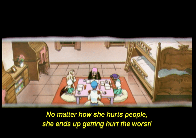 outside observer view of Miki, Nanami, Anthy, and Utena studying together. subtitle: No matter how she hurts people, she ends up getting hurt the worst!
