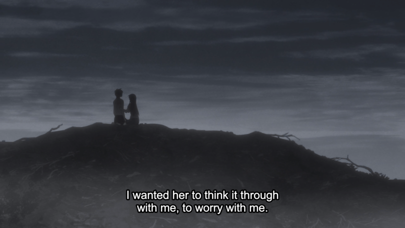 "Long shot of Kyo and Tohru in twilight on top of a hill. Subtitle text: ""I wanted her to think it through with me, to worry with me."""