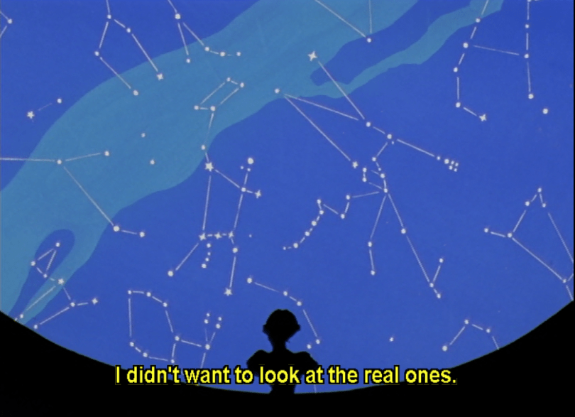 silhouette of Anthy looking at projection of constellations. subtitle: I didn't want to look at the real ones.