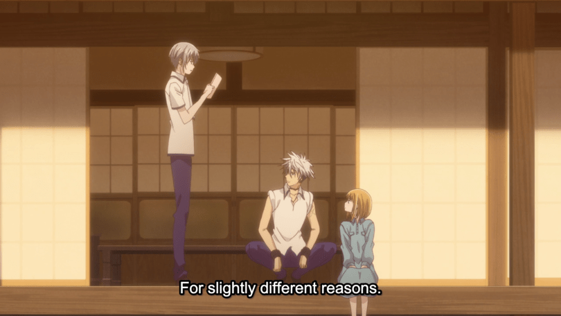 "Yuki holding up a letter standing on a porch. Kisa and Haru are sitting. Subtitle text: ""For slightly different reasons."""