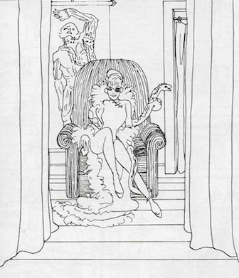 a woman in a chair with an eyepatch and a snake