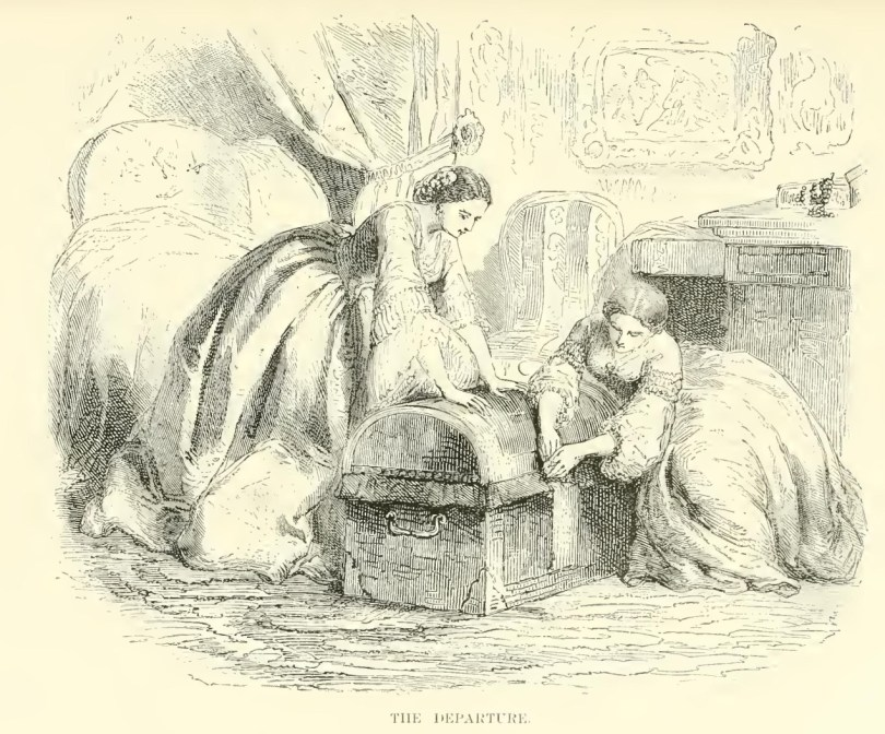 illustration from the novel of Eugenie packing to escape along with Louise