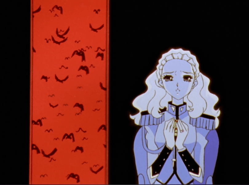 Nanami holding an egg as birds take flight against a red panel in the background