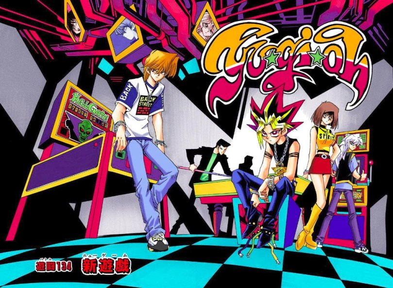 a bright neon-palette cover page of the main cast at an arcade playing various games and wearing very 90s clothes