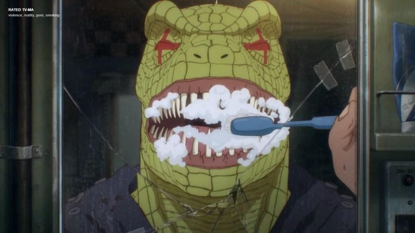 lizard-headed man brushing his teeth