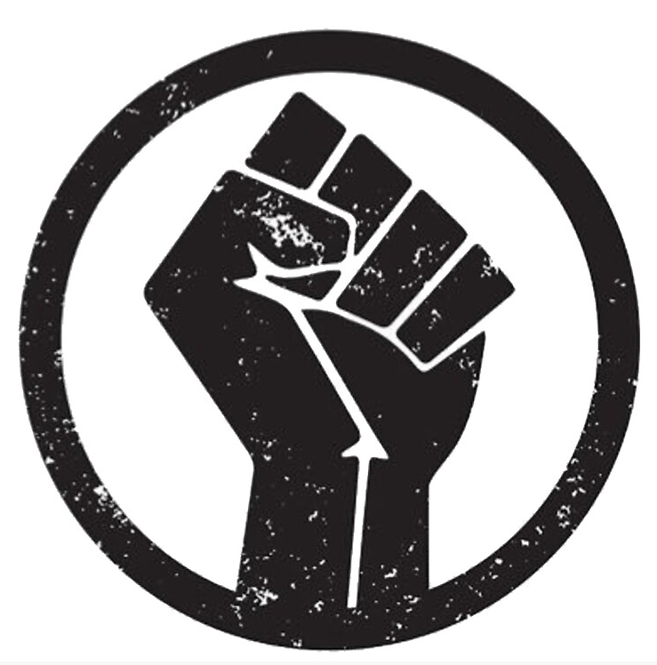 a clenched black fist on a white background; symbol of Black Lives Matter