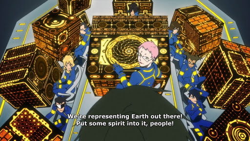 a bridge crew in matching uniforms sitting at high tech machines. subtitle: We're representing Earth out there! Put some spirit into it, people!