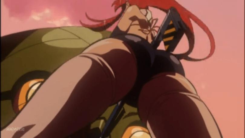An upskirt shot of Yoko from behind, mainly framing her butt