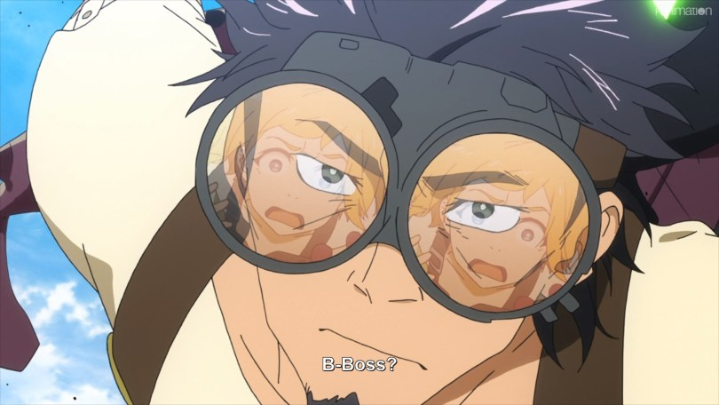 Natsume reflected in Kaburagi's goggles. Text: B-Boss?
