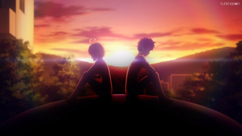 Kirara and Retto sitting naked atop a playground structure, silhouetted against the sunset