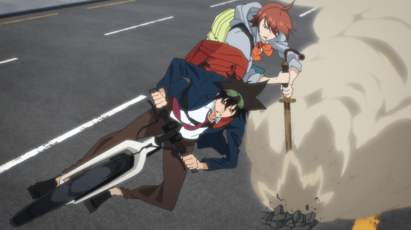 Mori leaning hard on a bike with Mira riding behind him, dragging a sword along the ground