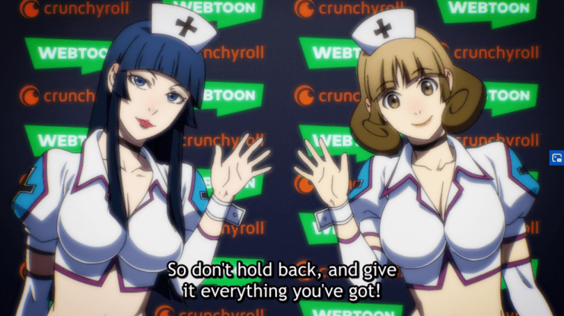 two busty nurses standing in front of Crunchyroll and Webtoon logos. subtitle: So don't hold back and give it everything you've got!