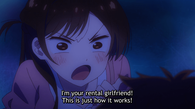 Close-up of Chizuru shouting. subtitle: I'm your rental girlfriend! This is just how it works!
