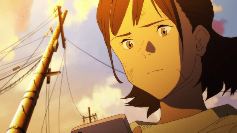 This image shows Muto Ayumu with scratches on her face. She is looking at her smartphone with a concerned expression. In the background, telephone poles are leaning, displaced by the earthquake.