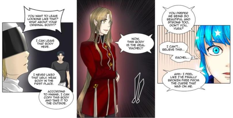 Rachel in a new, taller elfen body, disparaging her original body as ugly and weak