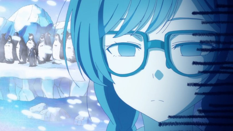 close-up of an unimpressed girl with penguins in the background to imply how cold her mood is