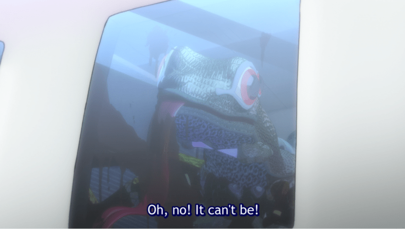 a lizard monster licking a bloody plane window. subtitle: Oh no! It can't be!