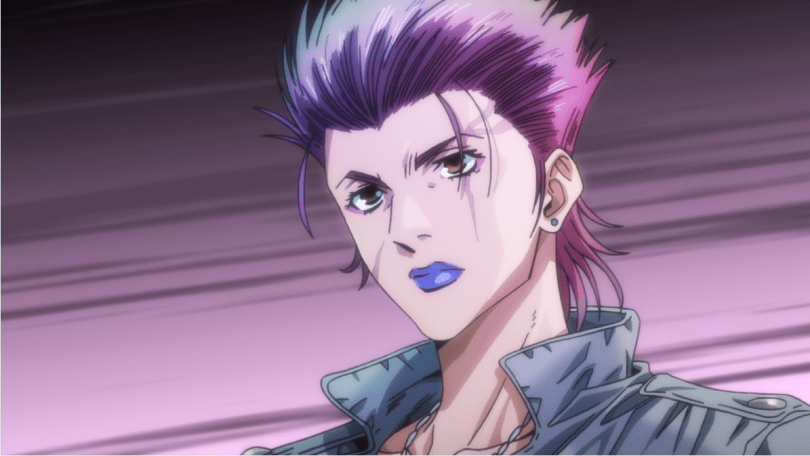 a woman with pink spiky hair and a scar over her eye