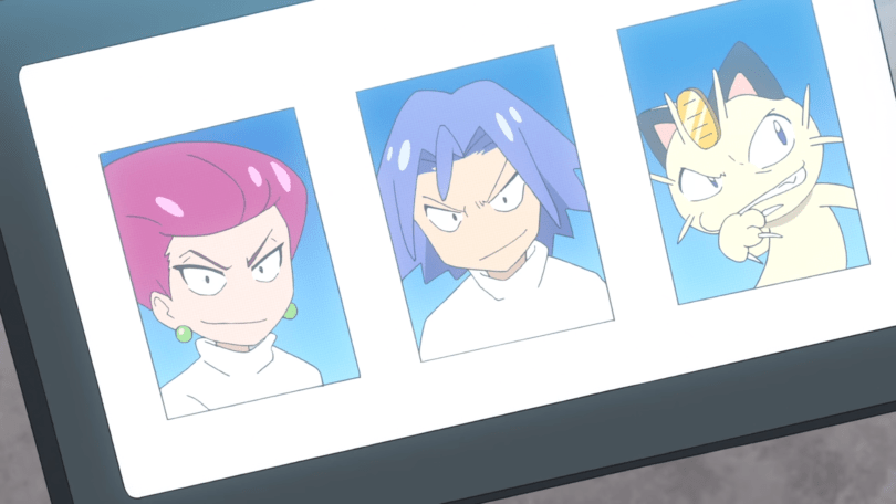 headshots of Jesse, James, and Meowth from Team Rocket, looking like gremlins