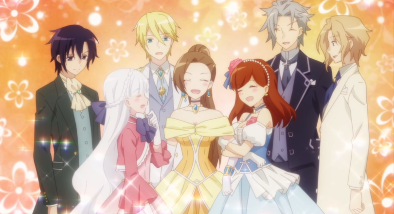 Katarina smiling and surrounded by her suitors, male and female