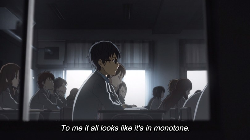 Kousei sitting at a desk in a classroom. Text: To me it all looks like it's in monotone.