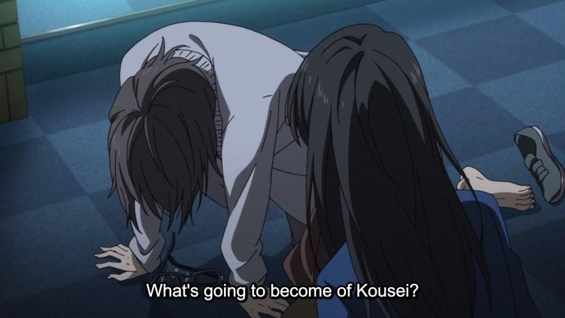 Saki, slumped on the floor. Text: What's going to become of Kousei?