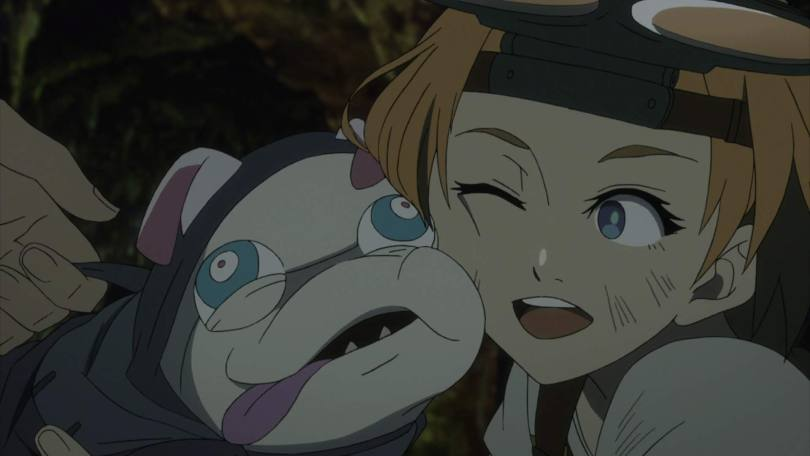 A smiling Natsume hugs Pipe, their cheeks squished together. Pipe's tongue lolls happily