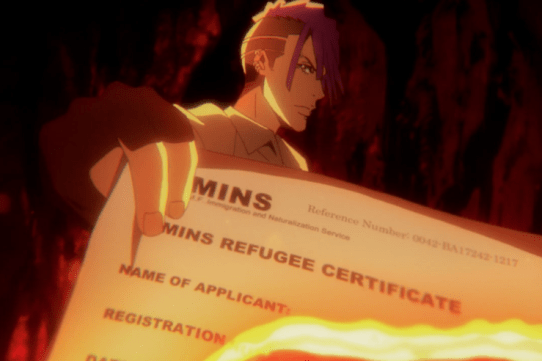 Ezekial burning a refugee certificate.