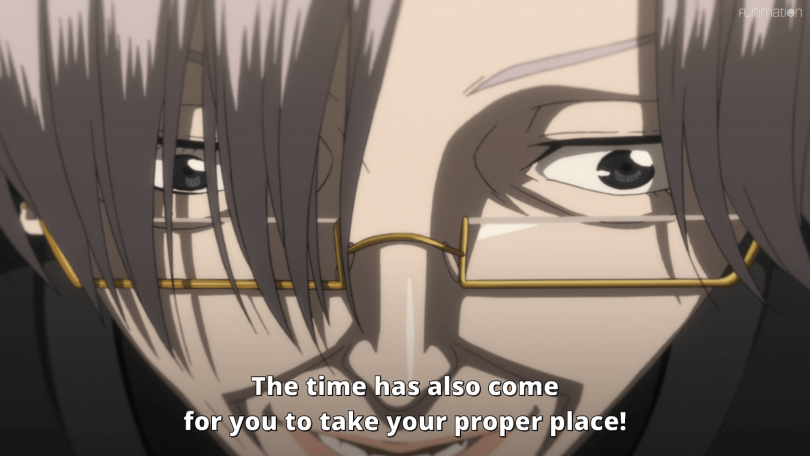 An unsettling close up of an old woman in glasses' face. Subtitle: The time has also come for you to take your proper place!