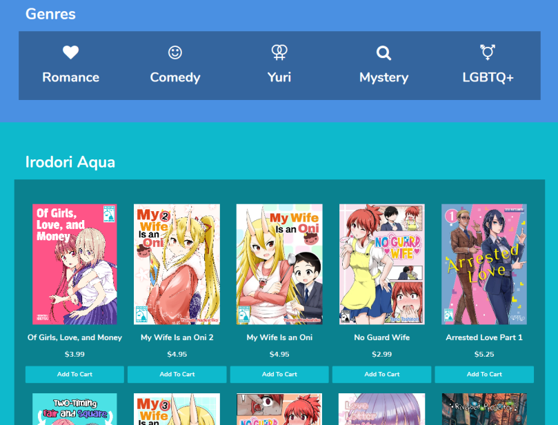 A screenshot of Irodori light's selection of Aqua titles and genres.
