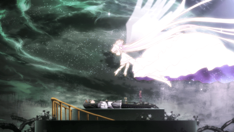 Madoka descending from the sky toward Homura, who lays on a slab