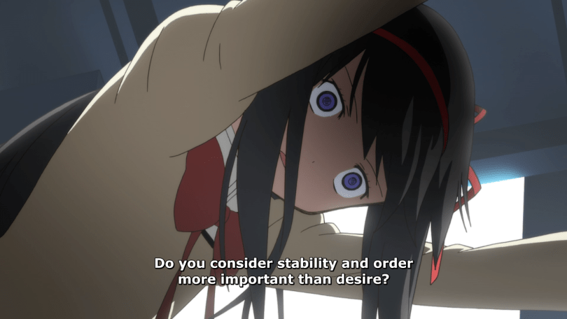 Shot of Homura from below as she leans against a wall. subtitle: Do you consider stability and order more important than desire?