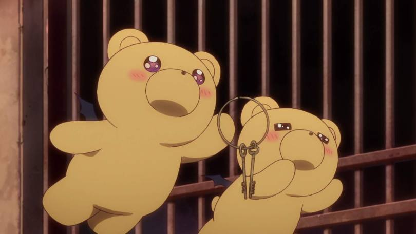 Two teddy bears with demon wings fly in front of prison bars, holding prison keys. They are flushed with joy.