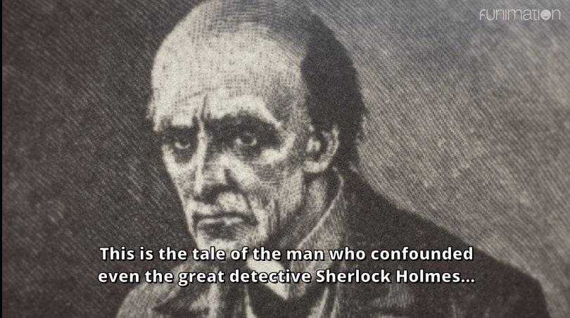 an illustration of Moriarty as an old man. subtitle: This is the tale of the man who confounded even the great detective Sherlock Holmes