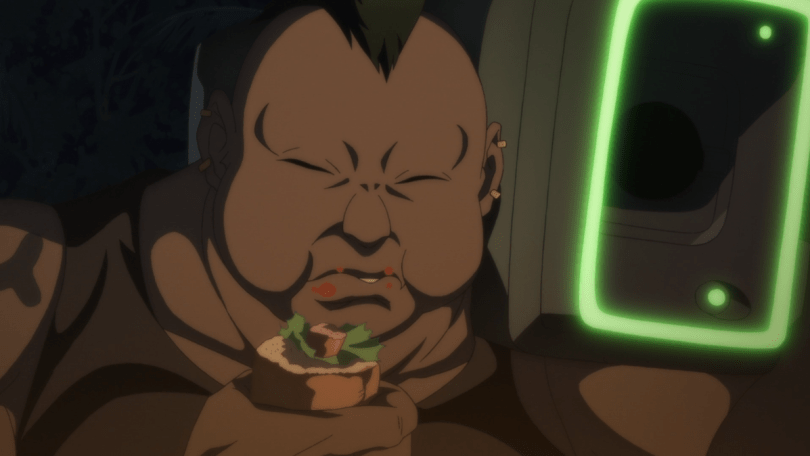 a fat man eating a sandwich with a grenade launcher on his shoulder