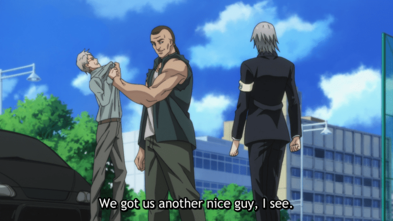 A tall muscley punk menacing an old man as M-21 walks over. subtitle: We got us another nice guy, I see.