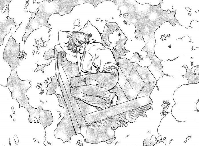 Tasuku curled up on a couchwith dream clouds billowing around him