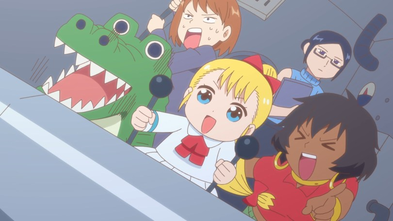 A small girl controls levers as a brown woman is laughing hysterically. An alligator looks frozen in shock as a woman sweats bullets with a panicked expression. A woman in glasses stands by looking aloof.