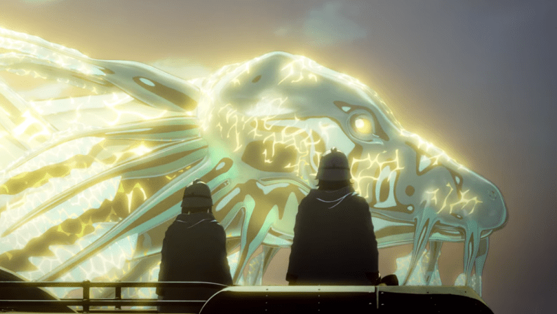 two humans in silhouette looking at an enormous glowing dragon head