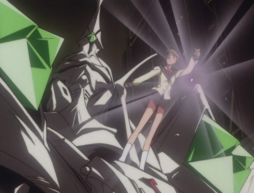 Hitomi stands atop Escaflowne, holding her glowing pendant high