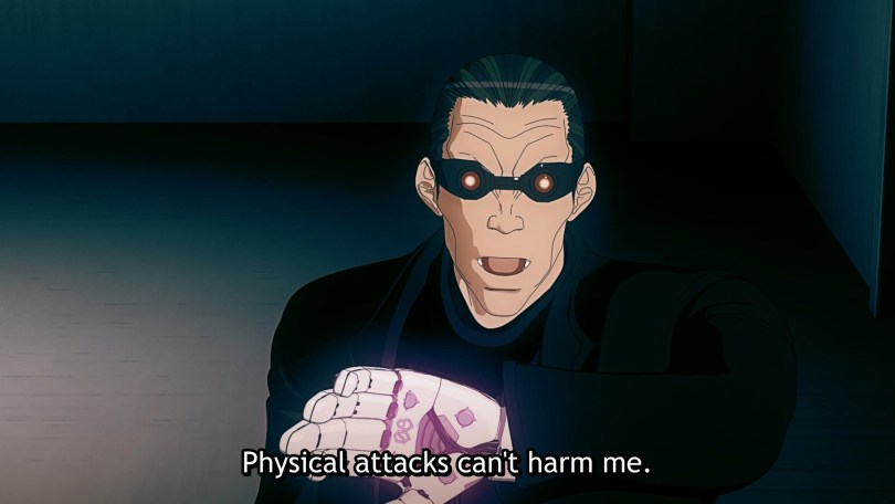 A man with goggle eyes holds up his glowing robot arm. Subtitle: Physical attacks can't harm me.